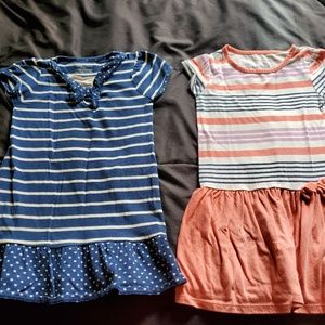 Girls 5T dresses, navy and striped